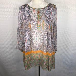 Calypso St Barth Tunic Semi Sheer 100% Silk Large
